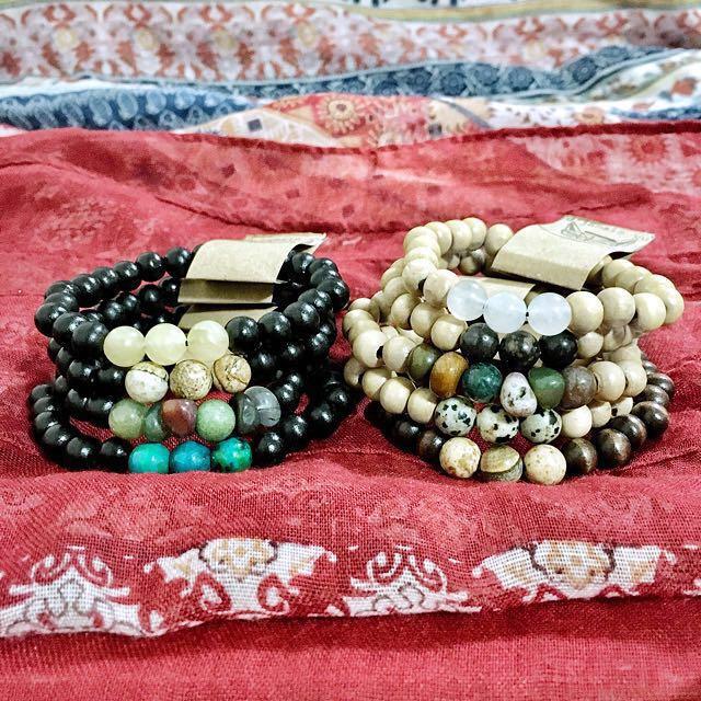 (HANDMADE) Gem Basic Wood Series Beaded Wear