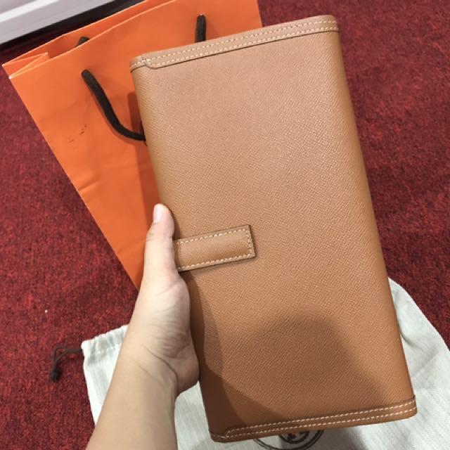 Hermes Jige Elan 29 Clutch Epson Leather Brown 67721521c