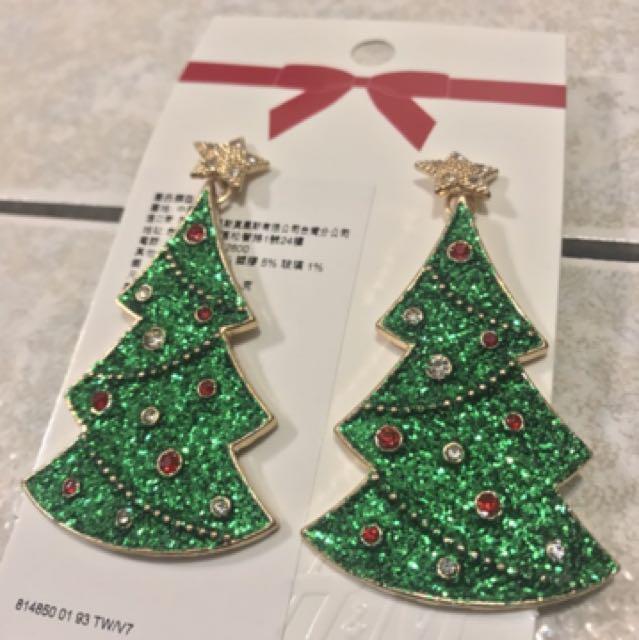 H&M 聖誕樹耳環