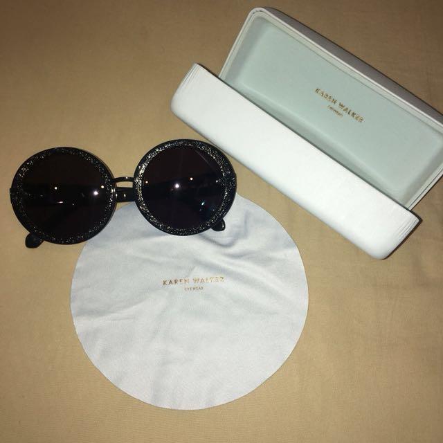 34efd47f5a45 KAREN WALKER Orbit filigree black Round Frame Sunglasses