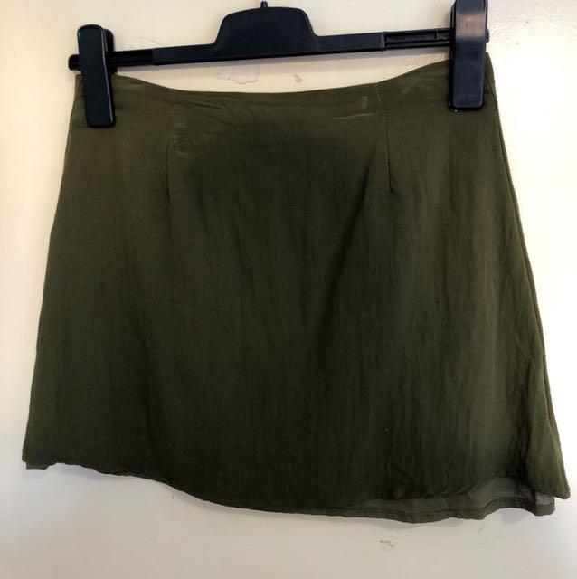 Khaki a line linen skirt size 10