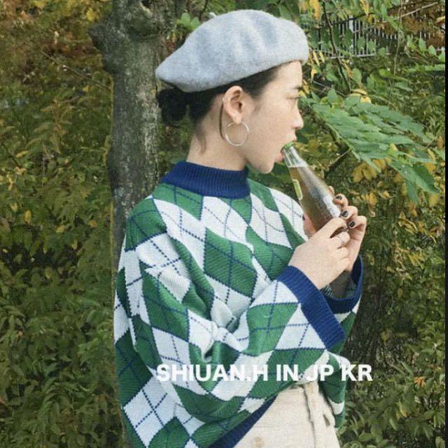 KR 2017 12月韓國帶回聖誕跨年秋冬新款菱形格復古毛衣上衣