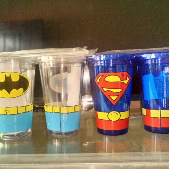 Licensed DC 16oz tumblers from USA Superman & Batman with hard plastic straw