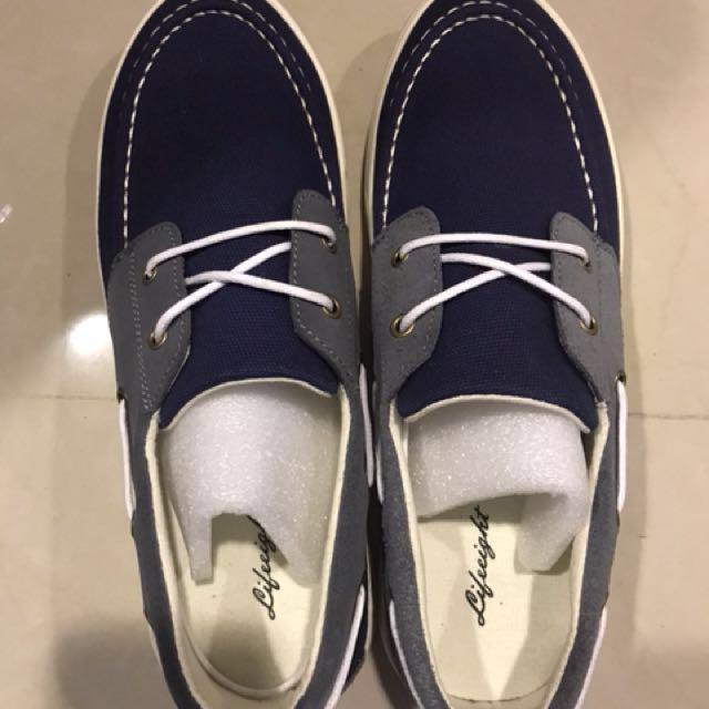 Life8 帆船鞋,藍灰撞色,休閒鞋(43)