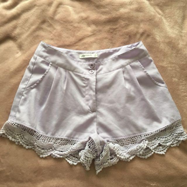 Lilac shorts size 8