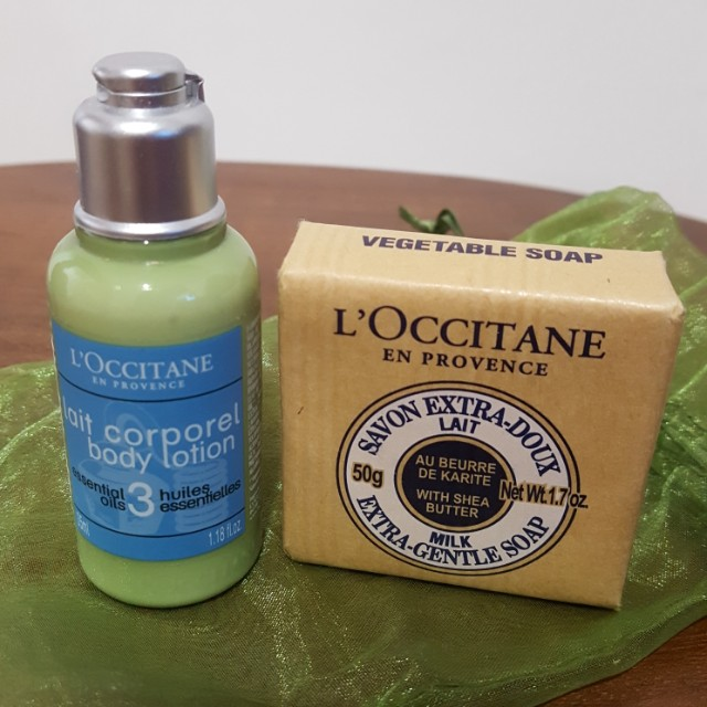 L'occitane body lotion+ Milk Extra Gentle soap Travel pack