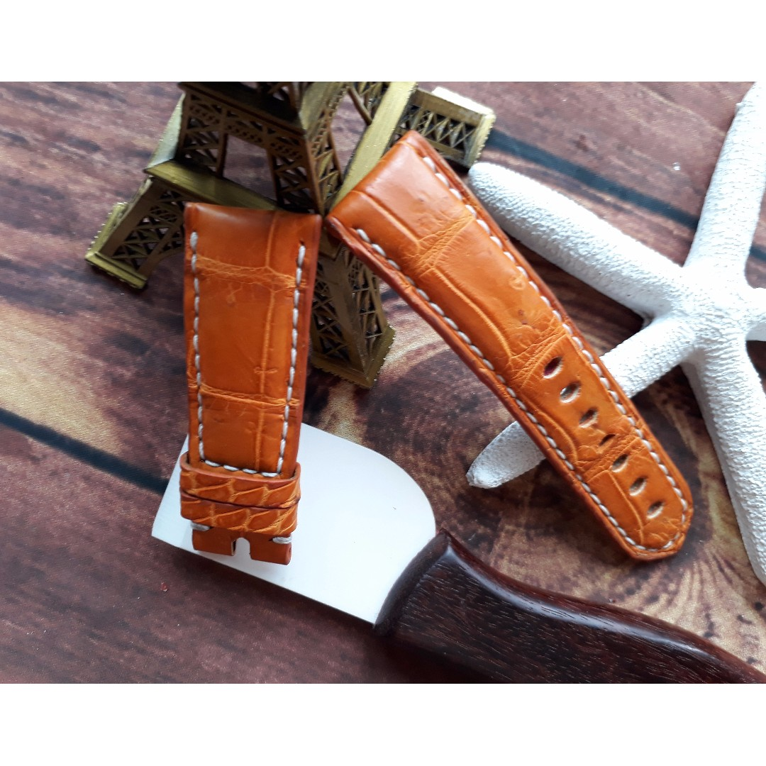 42d2d2535 24mm Gold Tan Genuine Alligator Crocodile Leather Watch Strap for Panerai  Submersible Luminor 44mm, Luxury, Watches on Carousell