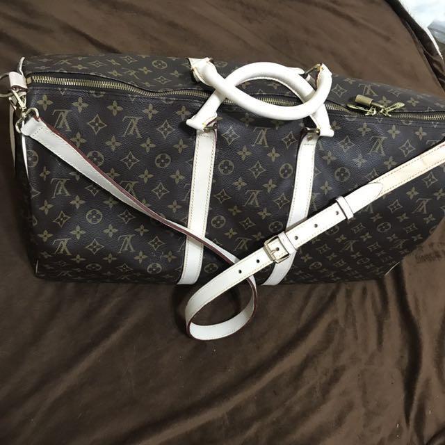 LV 旅行袋 正品!苯皮櫃外全新訂製純牛皮
