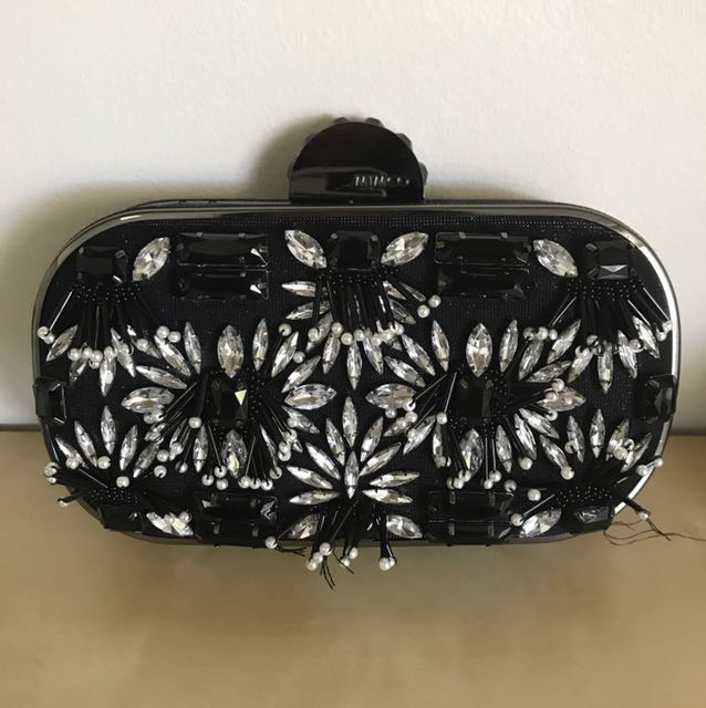 Mimco midnight kiss beaded hard case pouch clutch