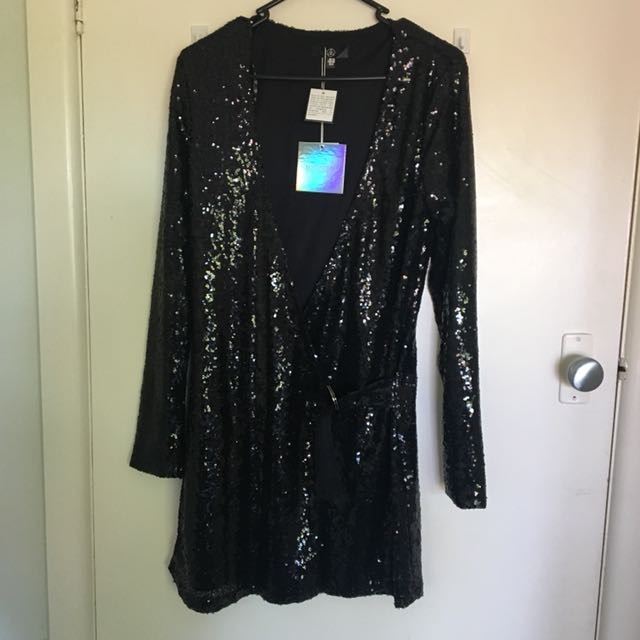 MISSGUIDED Sequined Wrap Dress