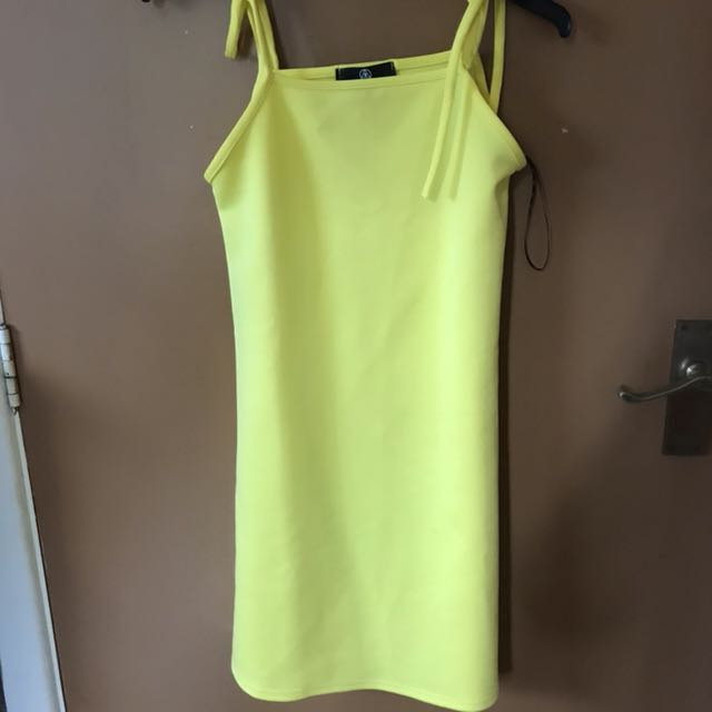 Missguided Yellow Shift Dress; Multiple Tie