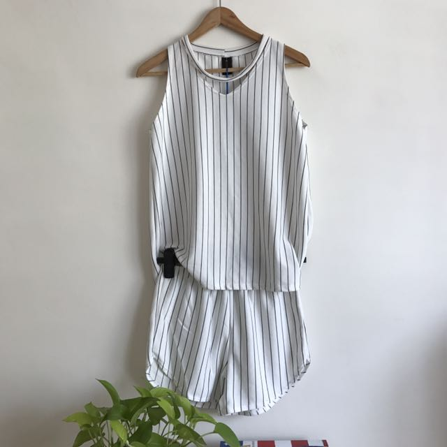 (NEW) Korean Striped Top and Bottom Set