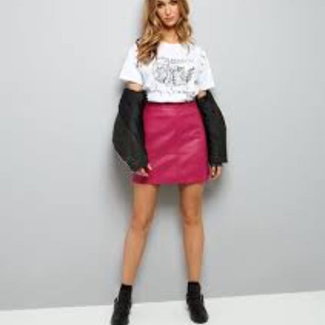 classic style outlet on sale get online New Look Pink Leather Skirt