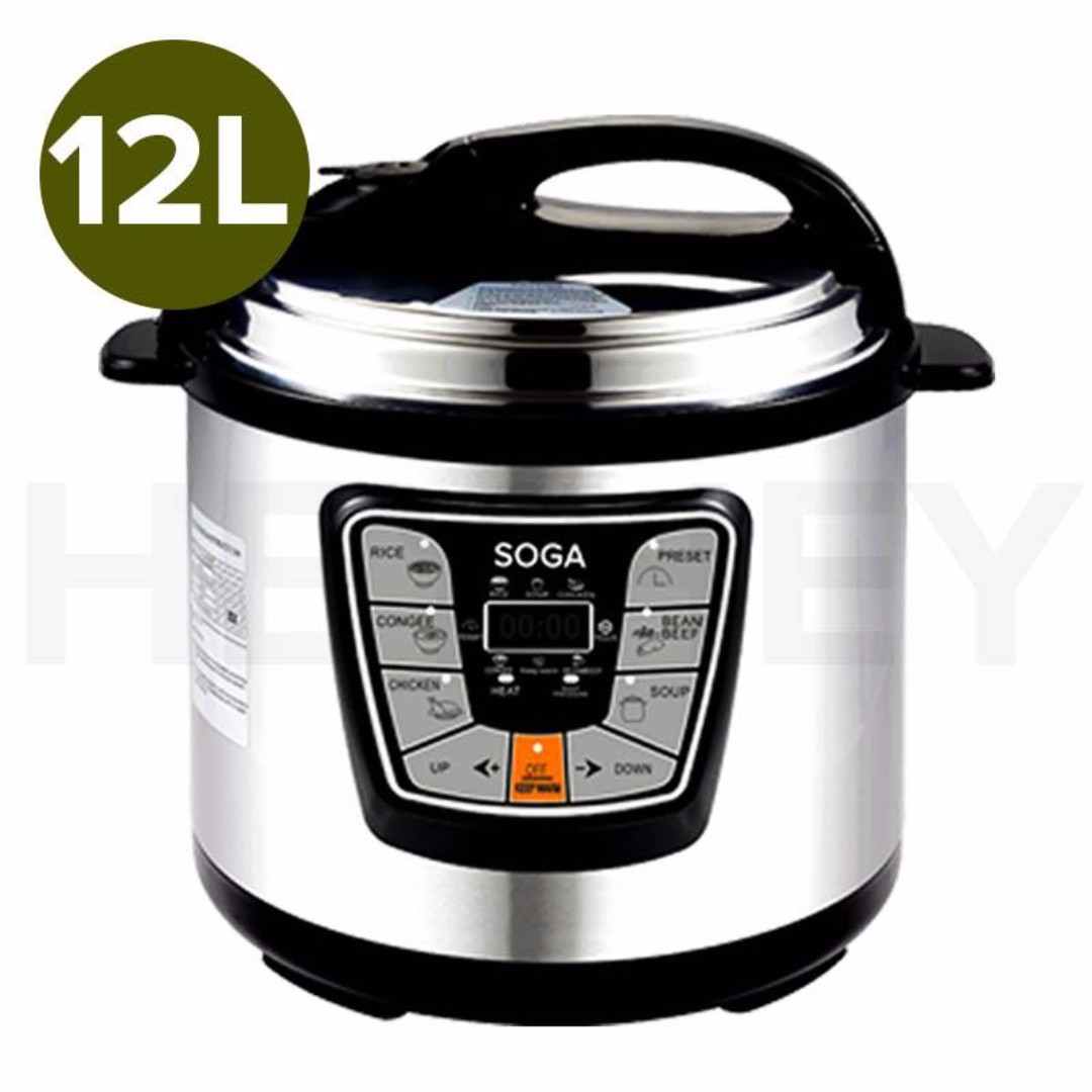 NEW Stainless Steel Electric Pressure Cooker 12L NonStick 1000W 12MONTH WARRANTY