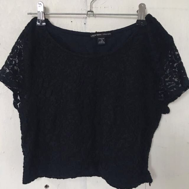 New york company dark blue lace crop top blouse