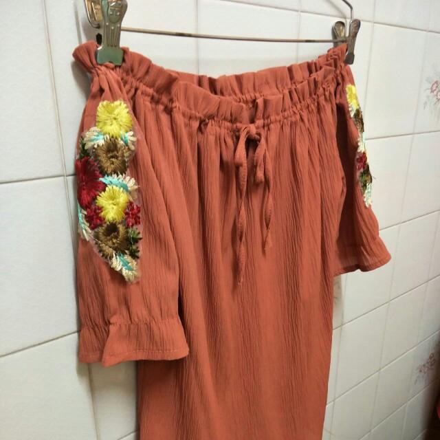 Off shoulder Shirt (Floral embroidery)