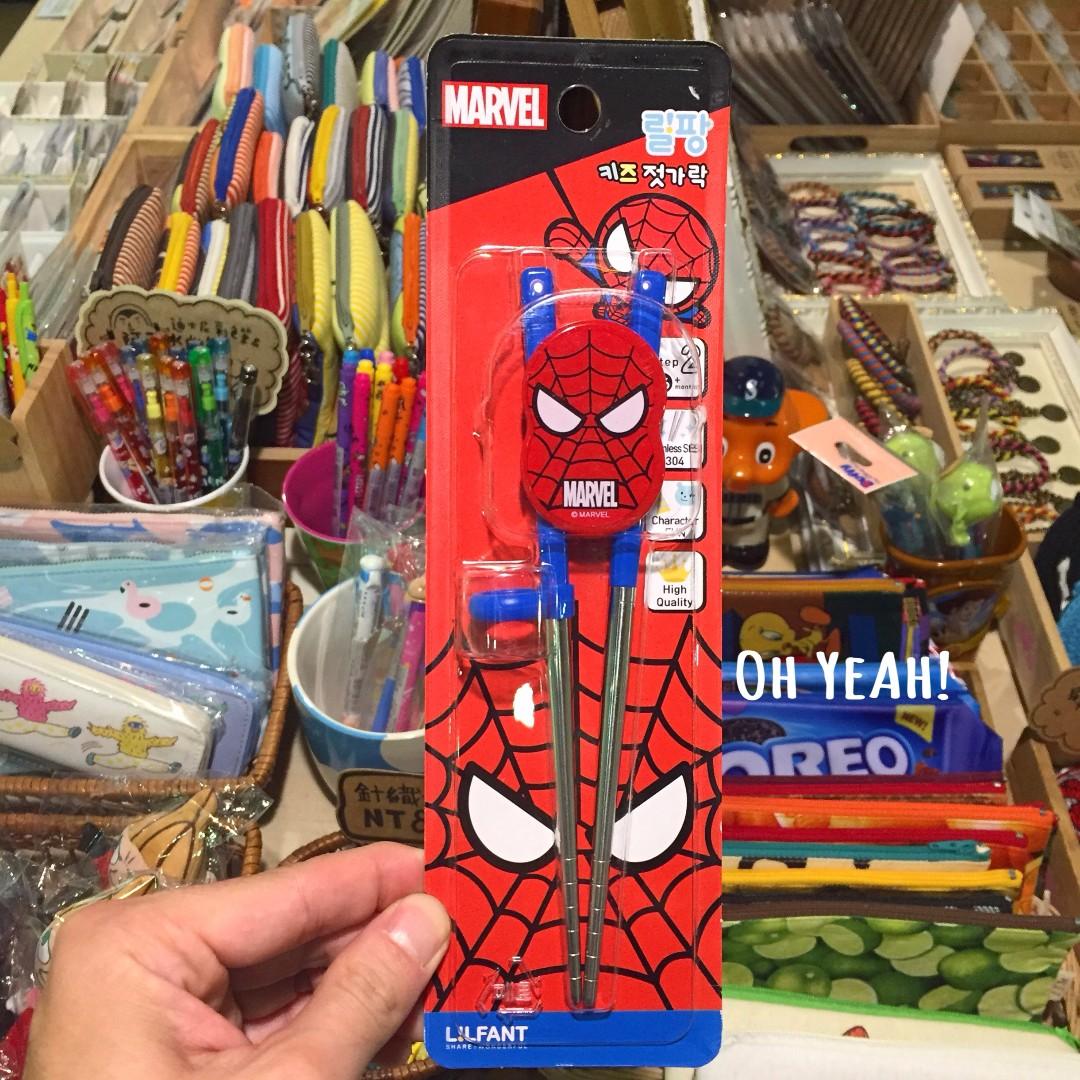 :::OH YEAH!:::『現貨』韓國正版🇰🇷LiLFANT 蜘蛛人學習筷 不銹鋼學習筷 彌月禮 3週歲以上使用