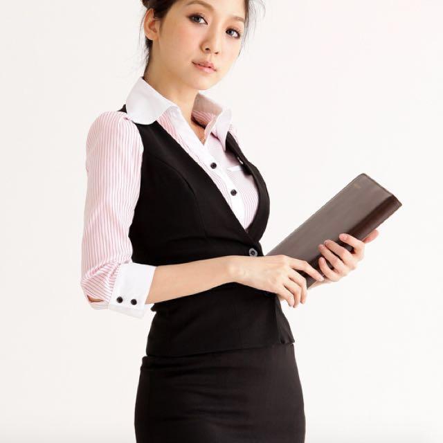 女生辦公室OL黑色背心