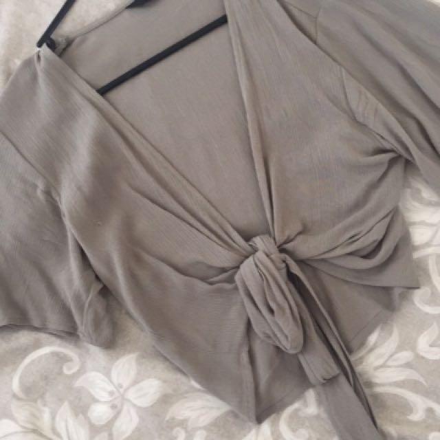 Olive wrap shirt