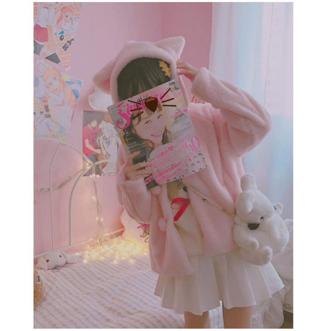 Outwear Series - Kitty Ears Furry Jacket with Tail Behind