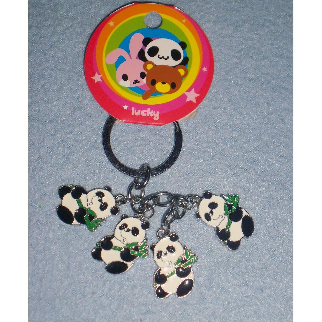 Panda 4 Charm Keychain