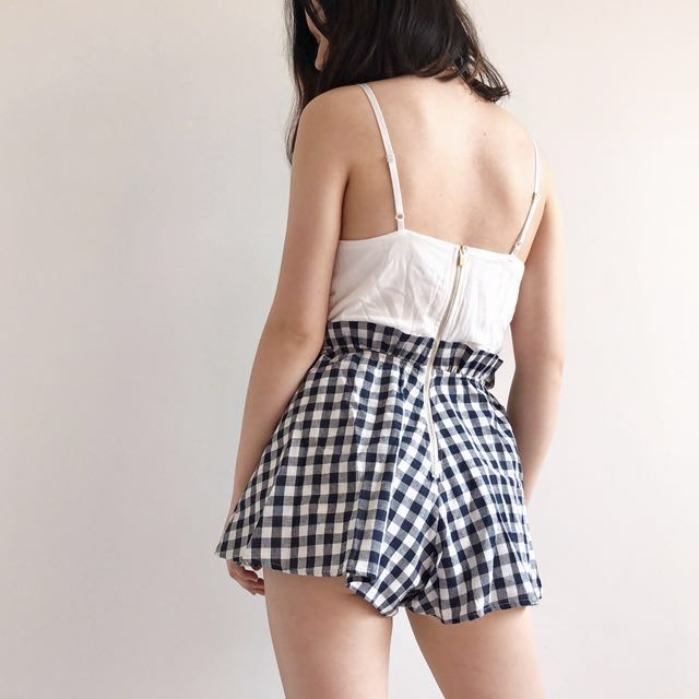 PETITE White and gingham playsuit