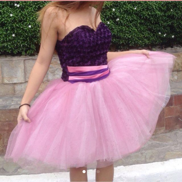 Pink purple cocktail gown