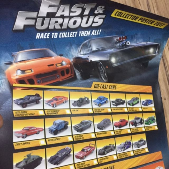 poster fast amp furious mattel 2017 collector edition toys