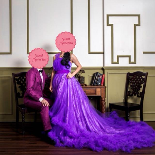 Prewed Photoshoot Purple Bridal Gown FOC Men Suit, Women\'s Fashion ...