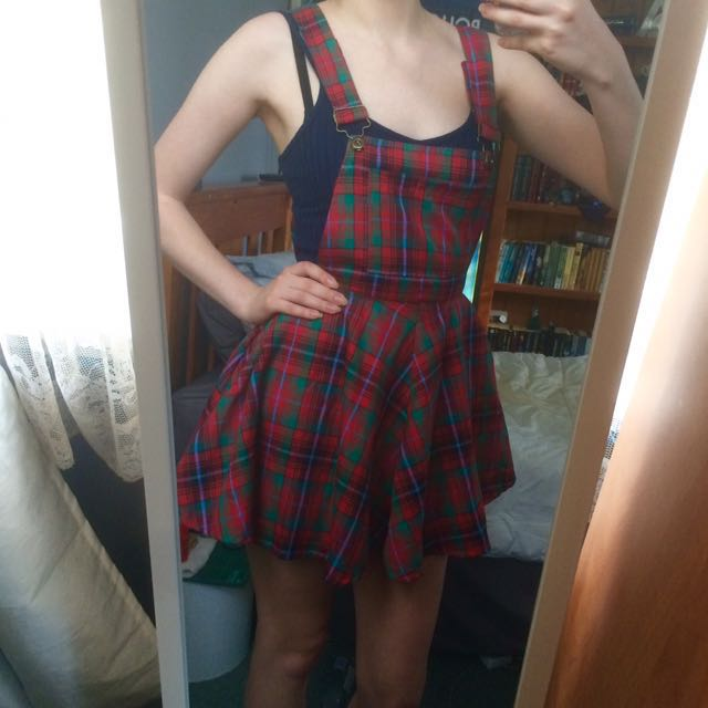 Red and green plaid pinafore dress