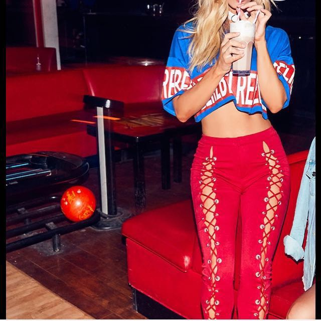 Red lace up trousers