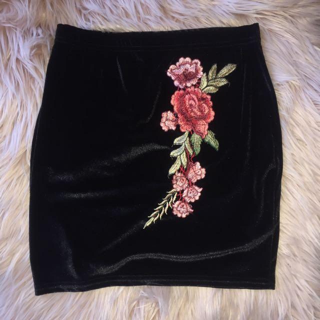 Rose Appliqué Velvet Mini Skirt