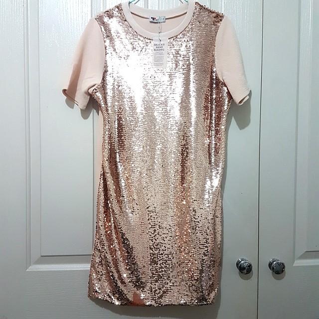 Rose gold sequin shift dress