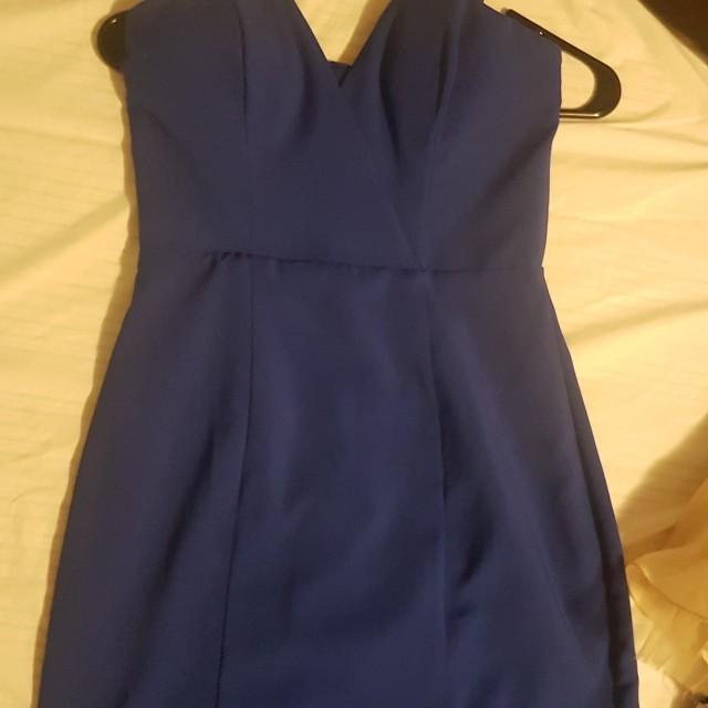 Royal Blue strapless dress Size 4