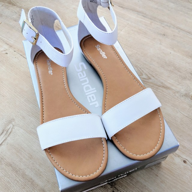 SANDLER Genuine Leather White Sandals Size 9 NEW