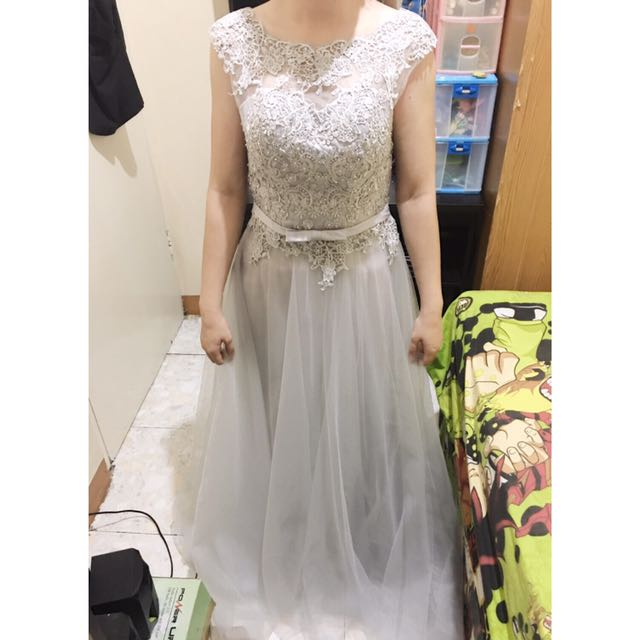 silver grey party long dress