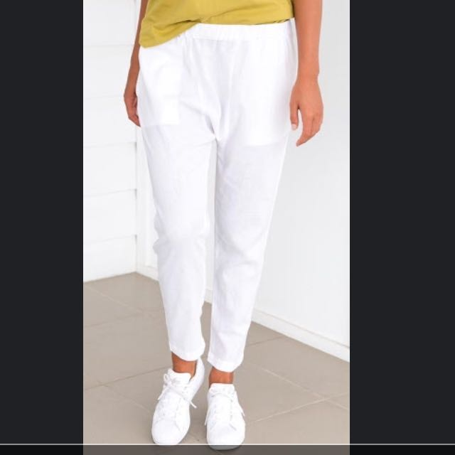 Slouched White Pants