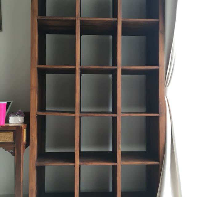 SOLID DARK TEAK BOOKSHELF On Carousell