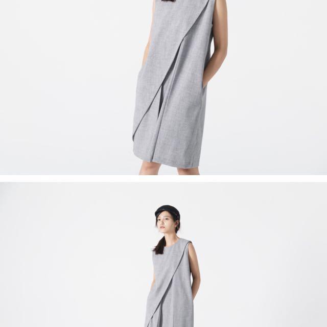 Soulsis - 不規則斜摺無袖洋裝