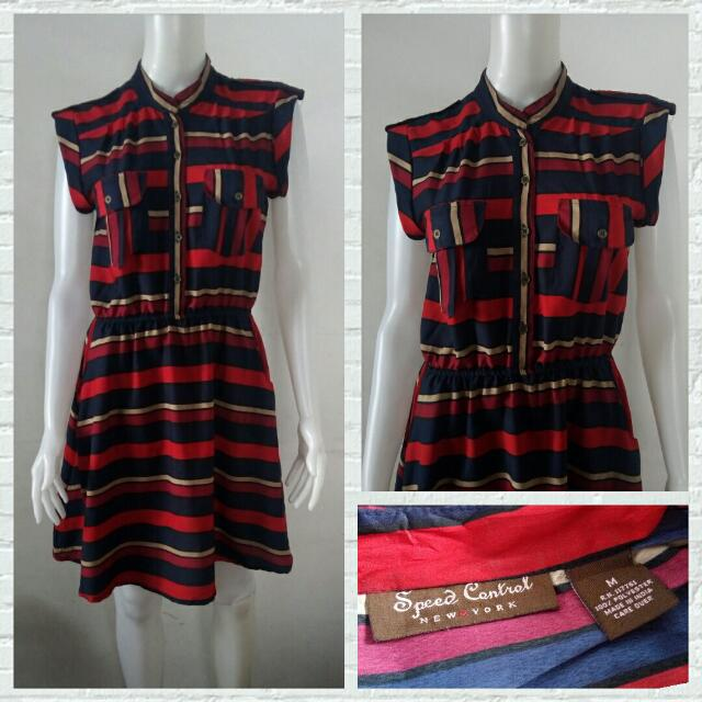 Speed Control NY Smart Casual Dress In Red Stripes