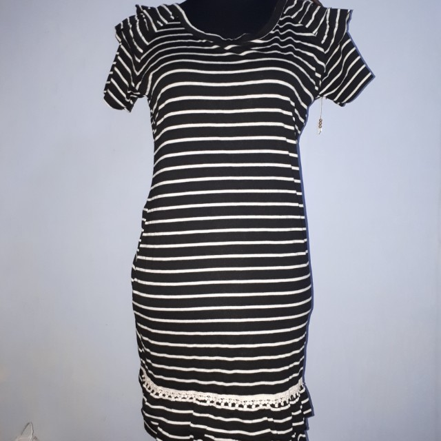 Stripes Dress With Knit Accent