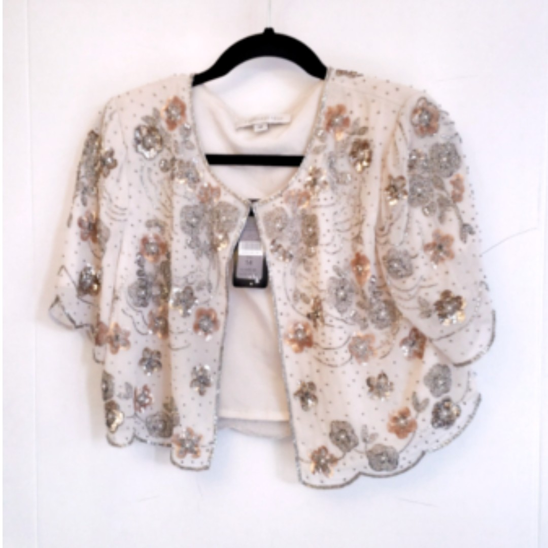 Stunning hand beaded Forever New cardigan size 14  - perfect for parties!