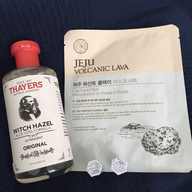 Thayers Witch Hazel Astringent/ Toner & TheFaceShop Clay Mask & Kanebo Suisai Beauty Powder Mask
