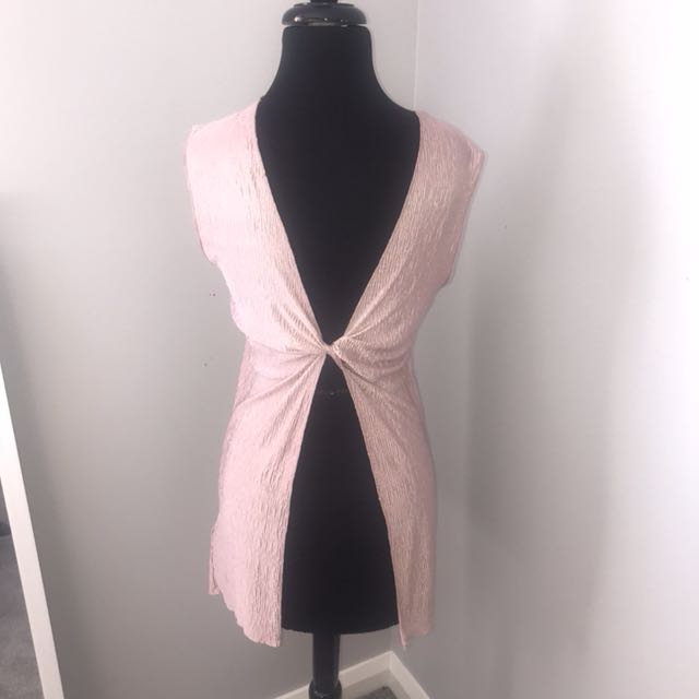 TOPSHOP Baby Pink ruched singlet 10