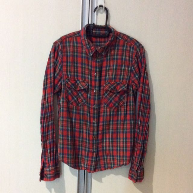 Topshop checkered blouse
