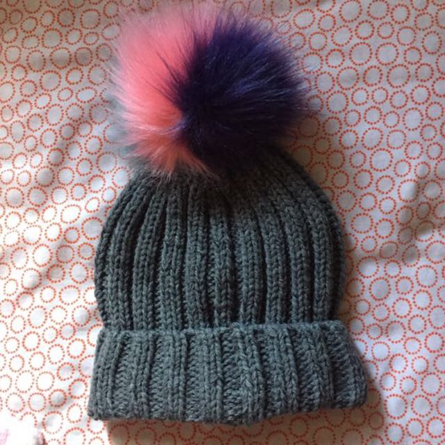 Uk Atmosphere Grey Beanie with multicolor Pom Pom