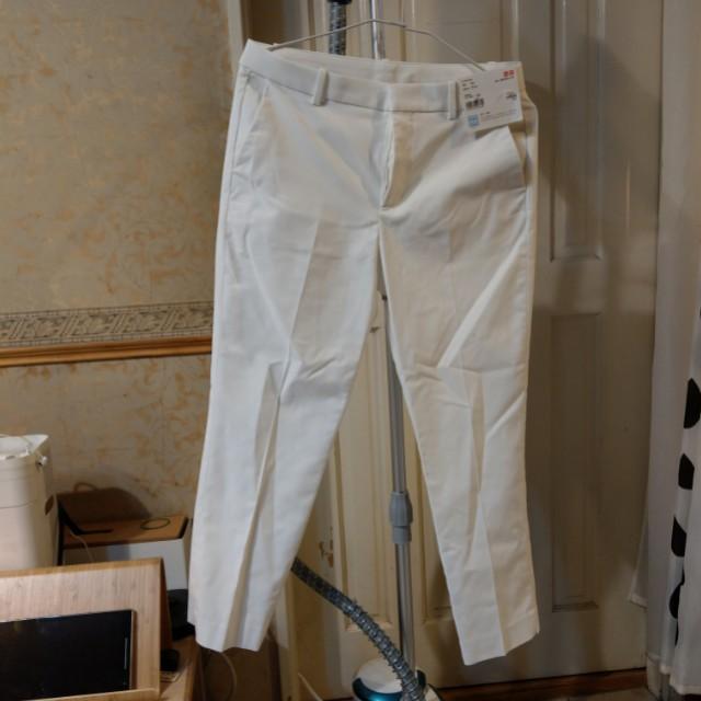 UNIQLO白色彈性七分褲-腰圍67公分