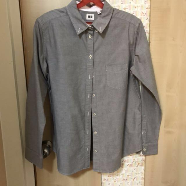 UNIQLO oxford shirt grey, white