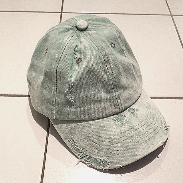 Urban outfitters aqua distressed cap