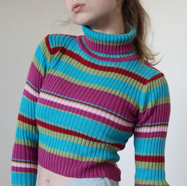 Vintage glitter striped turtleneck sweater!